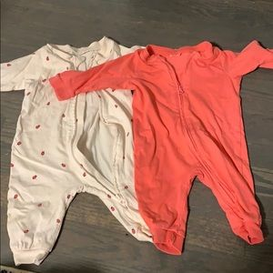 2 h&m baby zip up play suits